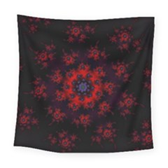 Fractal Abstract Blossom Bloom Red Square Tapestry (large)
