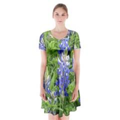 Blue Bonnets Short Sleeve V-neck Flare Dress