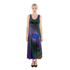 Ellipse Fractal Computer Generated Sleeveless Maxi Dress
