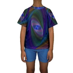 Ellipse Fractal Computer Generated Kids  Short Sleeve Swimwear