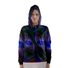 Ellipse Fractal Computer Generated Hooded Wind Breaker (women)