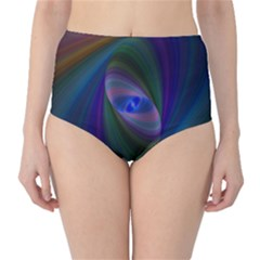 Ellipse Fractal Computer Generated High Waist Bikini Bottoms