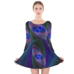Ellipse Fractal Computer Generated Long Sleeve Velvet Skater Dress