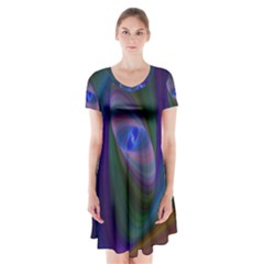 Ellipse Fractal Computer Generated Short Sleeve V Neck Flare Dress