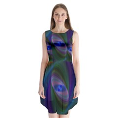 Ellipse Fractal Computer Generated Sleeveless Chiffon Dress