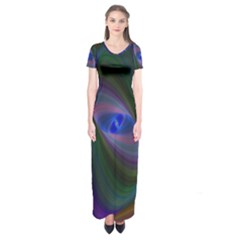 Ellipse Fractal Computer Generated Short Sleeve Maxi Dress
