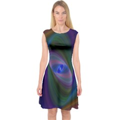 Ellipse Fractal Computer Generated Capsleeve Midi Dress