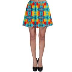 Pop Art Abstract Design Pattern Skater Skirt