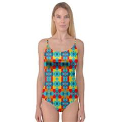 Pop Art Abstract Design Pattern Camisole Leotard