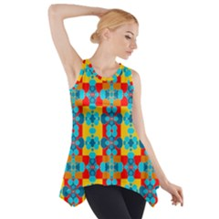 Pop Art Abstract Design Pattern Side Drop Tank Tunic