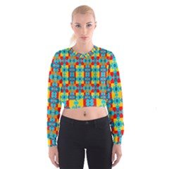 Pop Art Abstract Design Pattern Women s Cropped Sweatshirt