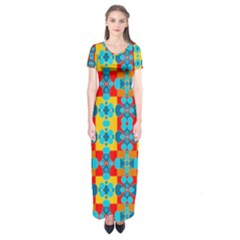 Pop Art Abstract Design Pattern Short Sleeve Maxi Dress