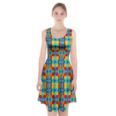 Pop Art Abstract Design Pattern Racerback Midi Dress