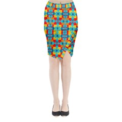 Pop Art Abstract Design Pattern Midi Wrap Pencil Skirt