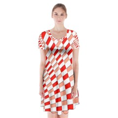 Graphics Pattern Design Abstract Short Sleeve V Neck Flare Dress