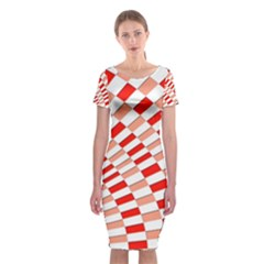 Graphics Pattern Design Abstract Classic Short Sleeve Midi Dress