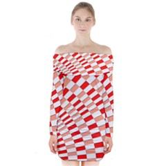 Graphics Pattern Design Abstract Long Sleeve Off Shoulder Dress