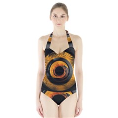 Fractal Mathematics Abstract Halter Swimsuit