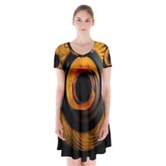 Fractal Mathematics Abstract Short Sleeve V Neck Flare Dress