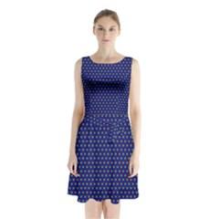 Fractal Art Honeycomb Mathematics Sleeveless Chiffon Waist Tie Dress