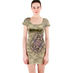 Fractal Art Colorful Pattern Short Sleeve Bodycon Dress