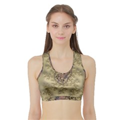 Fractal Art Colorful Pattern Sports Bra With Border