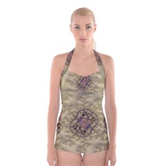 Fractal Art Colorful Pattern Boyleg Halter Swimsuit