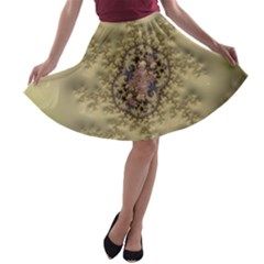 Fractal Art Colorful Pattern A Line Skater Skirt