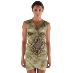 Fractal Art Colorful Pattern Wrap Front Bodycon Dress