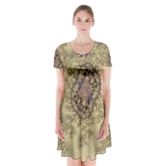 Fractal Art Colorful Pattern Short Sleeve V Neck Flare Dress