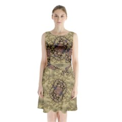 Fractal Art Colorful Pattern Sleeveless Chiffon Waist Tie Dress