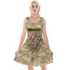 Fractal Art Colorful Pattern Reversible Velvet Sleeveless Dress