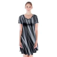 Fractal Mathematics Abstract Short Sleeve V-neck Flare Dress