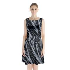 Fractal Mathematics Abstract Sleeveless Chiffon Waist Tie Dress