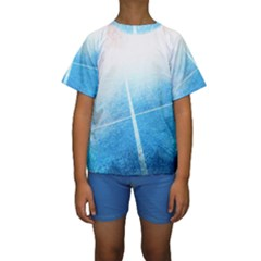 Court Sport Blue Red White Kids  Short Sleeve Swimwear