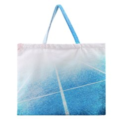 Court Sport Blue Red White Zipper Large Tote Bag