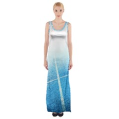 Court Sport Blue Red White Maxi Thigh Split Dress