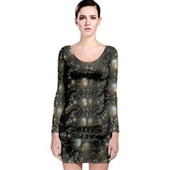 Fractal Math Geometry Backdrop Long Sleeve Bodycon Dress