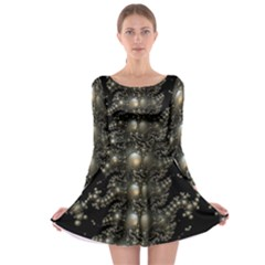 Fractal Math Geometry Backdrop Long Sleeve Skater Dress