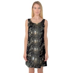 Fractal Math Geometry Backdrop Sleeveless Satin Nightdress
