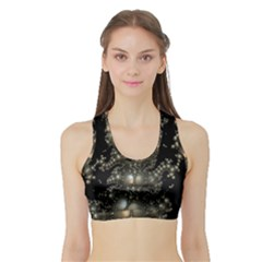 Fractal Math Geometry Backdrop Sports Bra with Border