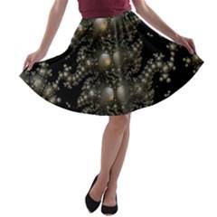 Fractal Math Geometry Backdrop A Line Skater Skirt