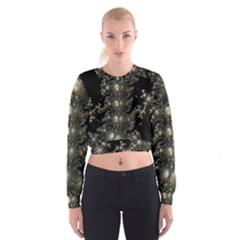 Fractal Math Geometry Backdrop Women s Cropped Sweatshirt