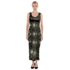 Fractal Math Geometry Backdrop Fitted Maxi Dress