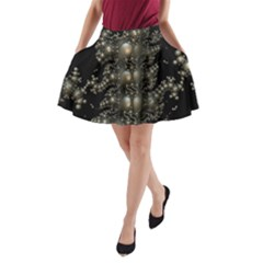 Fractal Math Geometry Backdrop A Line Pocket Skirt