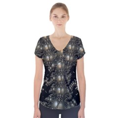 Fractal Math Geometry Backdrop Short Sleeve Front Detail Top