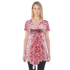 Heart Love Valentine Red Short Sleeve Tunic