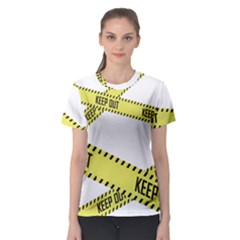 Keep Out Police Line Yellow Cross Entry Women s Sport Mesh Tee