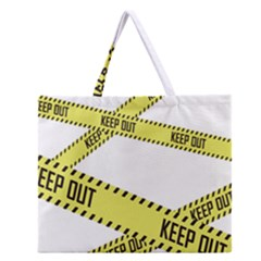 Keep Out Police Line Yellow Cross Entry Zipper Large Tote Bag