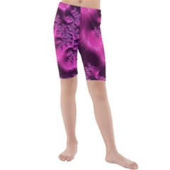 Fractal Artwork Pink Purple Elegant Kids  Mid Length Swim Shorts